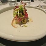 リストランテ カノフィーロ - 本マグロのクルード 毛蟹とウド、バーニャフレッダ