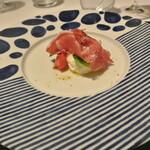 リストランテ カノフィーロ - フルーツトマトとブッラータ、サンダニエーレプロシュート