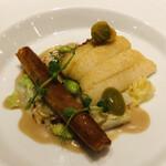 131178769 - 太刀魚 ヴァンジョーヌ ナスと茸のパートフィロ 枝豆 オリーブ キャベツ 花ズッキーニ