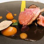 131178773 - ロゼール産仔羊背肉 オレンジコンフィ キャロットキャルビ 大麦 サマートリュフ