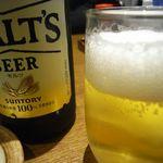 地酒とそば・京風おでん 三間堂 - まずはビールで乾杯!