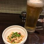 スミヤキ エビス - お通しと乾杯のビール