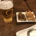 ばんがい地 - ノンアルコールビールに口取り。