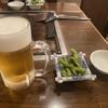 じゅらく - ドリンク写真:2020年6月6日  セットの生ビール(アサヒスーパードライ)・付きだし(枝豆)