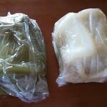 志波まんじゅう  - 料理写真:よもぎいきなりまんじゅう(左)&いきなりまんじゅう(右)