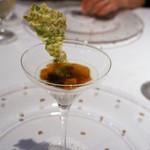 ラ・ヴァガボンド - 3-1 ポロ葱のムース、サザエ、空豆のコンソメジュレを添えて、あおさのフィアンティーヌ