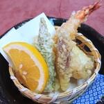 なか安 - 穴子・海老・夏野菜の天ぷら