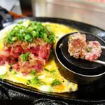 極味や - 極味やハンバーグステーキ Sサイズ(120g)890円+玉子とじ50円。