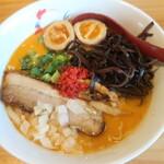 麺屋 丸鶏庵 -  鶏と海老出汁の味噌味玉TP&木耳増量 2020.6月