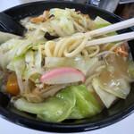 長浜ラーメン力 - 麺、太めです。