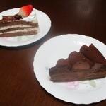 デリス洋菓子店 - 料理写真:デリスチョコ 250円(以下 税込)と ショコラトルテ 220円。      2020.06.10