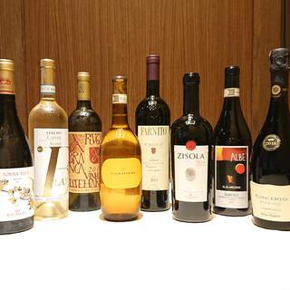 約100種類のワインをご用意。メニュー以外のリストも!