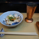 奴寿し - 鯛の白子焼き & 冷酒(一ノ蔵)
