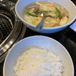 焼肉千里馬 - ライスと卵スープ