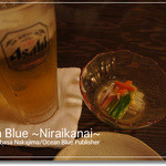 火乃座 - 生ビール&お通し(酢味噌和え)