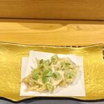 難波 鮨 栞庵 やましろ - 新生姜と枝豆のかき揚げ