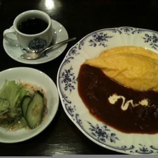 朝日珈琲サロン - 料理写真:オムハヤシセット(サラダ、ドリンク付) \880