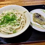 エコぽん太 - かけうどん(中)と茄子の天ぷら。