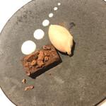 PRIMO - デザート:チョコレートのテリーヌ、フロマージュブランソース、イチジクのソルベ