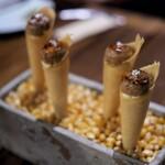 スペイン料理Pablo - フォアグラとトウモロコシのコノス