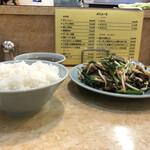 梁山泊 - レバニラ炒め+ライス+スープ(側面)
