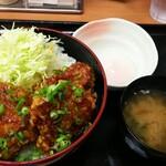 Karayoshi - 秘伝のタレ甘とろダレ丼(温泉卵・味噌汁付き) 500円(通常640円)、ご飯大盛り無料になります
