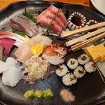 魚金 - お手頃3点盛り(3人前)1,580円 +300円で本鮪(税抜)