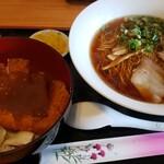 鷺原 - ラーメンとデミカツ丼セット