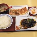 西安曹家 餃子坊 - なす味噌炒め定食+焼き餃子