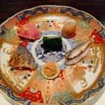 131566882 - あぶってかも松笠揚げ、小芋揚げ、鴨ロース、つる紫と新生姜のお浸し、熊本豆腐味噌漬け、豆鯵