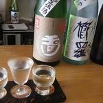 +SAKE bar - 「晩酌セット」の三種飲み比べ
