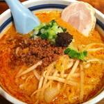 天手毬 - 特製味噌担々麺、クーポンでサービスの太肉乗せ。