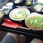 磯 - 田舎味噌汁とゴーヤチャンプルー。豪華なランチです。
