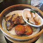 13160566 - 本日の干し物・鶏味噌漬け焼き・鹿児島薩摩揚げ