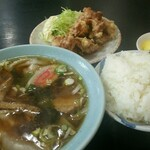 盧山 - ワンタン+唐揚げミニ+ライス
