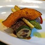 オステリア・ピノ・ジョーヴァネ - 函館大沼牛ロースのタリアータ に添えられた野菜達