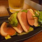 ビストロ シェ リキ - ♦︎一番搾り中ジョッキ ¥650 ♦︎かものくんせい   ¥450