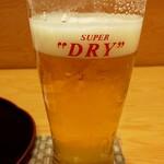 酒菜処 きっすい - 先ずは生ビール(先に飲んじゃいましたw)