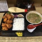 福栄食堂 - 料理写真:唐揚げ弁当 ¥570 スープ¥100