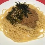 Tsuji家 - 納豆と高菜のペペロンチーノ