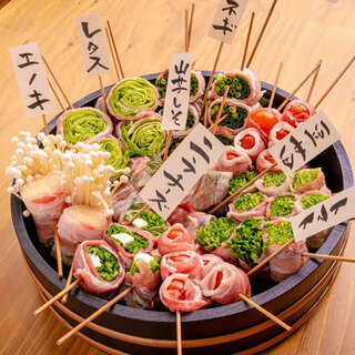 新鮮野菜巻き串をいっぱい食べて腹一杯に♪
