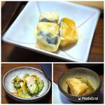 三原豆腐店 - ◆カボチャのクリーム和え・・カボチャの甘味を感じ好み。 ◆ゴーヤの酢の物 ◆奈良漬け・・美味しい奈良漬けです。