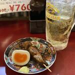 屋台餃子 - ハラミ串と味玉