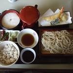 寿作 - ハモと巻き海老の麦とろ御膳(1260円)+大盛り(150円)