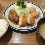 キッチン大 - ヒレカツ・ハンバーグ唐揚げセット950円