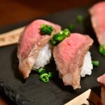 居酒屋 たなか畜産 - 【炙り肉寿司4種(2人前)@1,980】カルビ