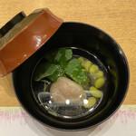 季寄せ料理 暖歩 - ・葛打ち枝豆 じゅん菜 合鴨 三つ葉 青柚子