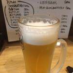名駅立呑ばっかす - カウンター越しに提供されたビールは泡がちょちょ切れてる