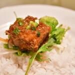 サイゴン・レストラン - 【サイゴンセット@1,480円】旬の野菜とビーフシチューライス:ビーフをお米に乗せて。