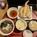 薫風 梅み月 - 「茶碗蒸し&天ぷらセット」@390(税別)+「ぶっかけそば」無料+「みそ汁」無料